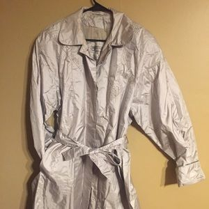 Vintage 80s Silver Trench Coat